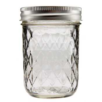 Quilted Glass Mason Jar - 8 Ounce